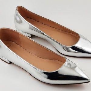 Jcrew Metallic  Silver Ballet Flats